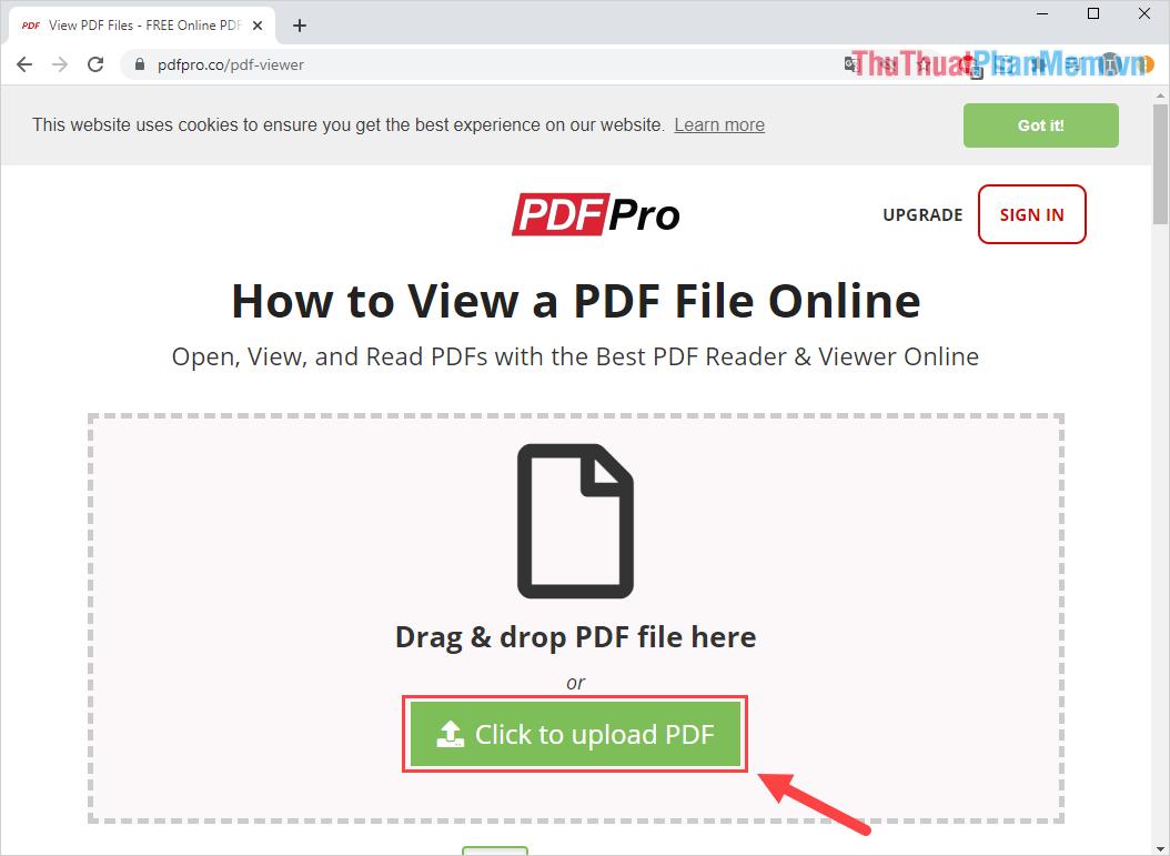 Click to Upload PDF để tiến hành tải file PDF cần đọc lên hệ thống