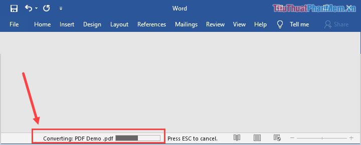Thời gian chuyển đổi định dạng PDF sang Word sẽ mất một khoảng thời gian nhất định