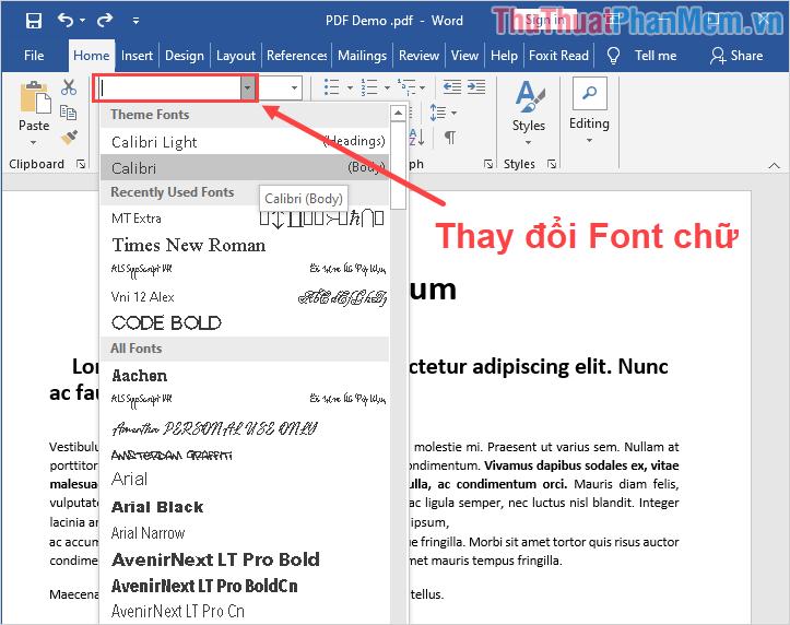 Tiến hành thay đổi Font chữ để lỗi được khắc phục