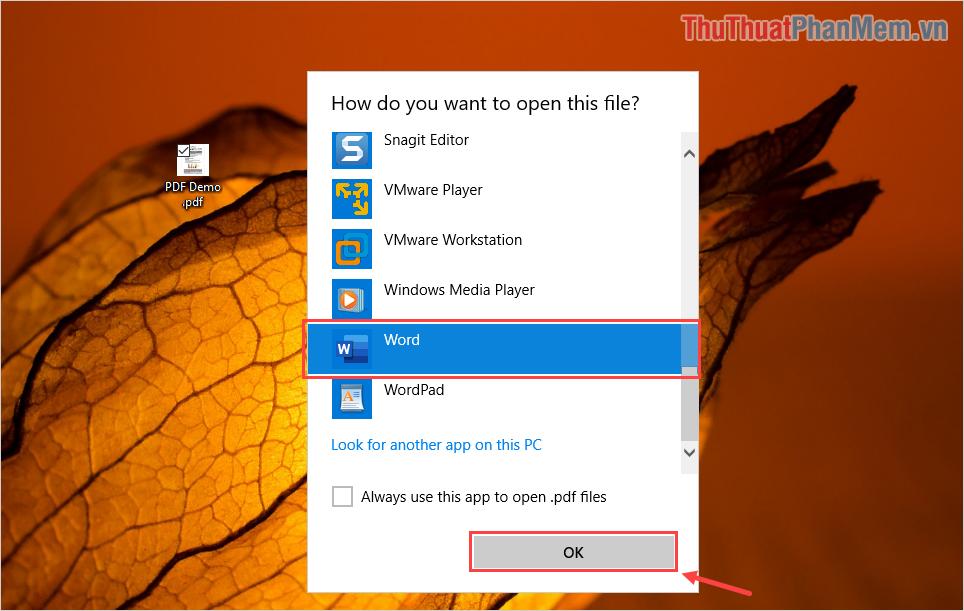 Tìm đến phần mềm Microsoft Word và chọn OK