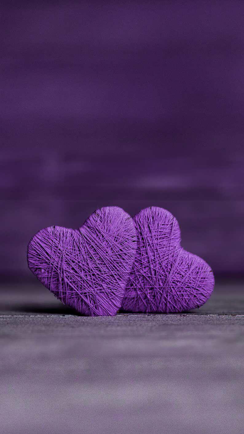 Background trái tim màu tím