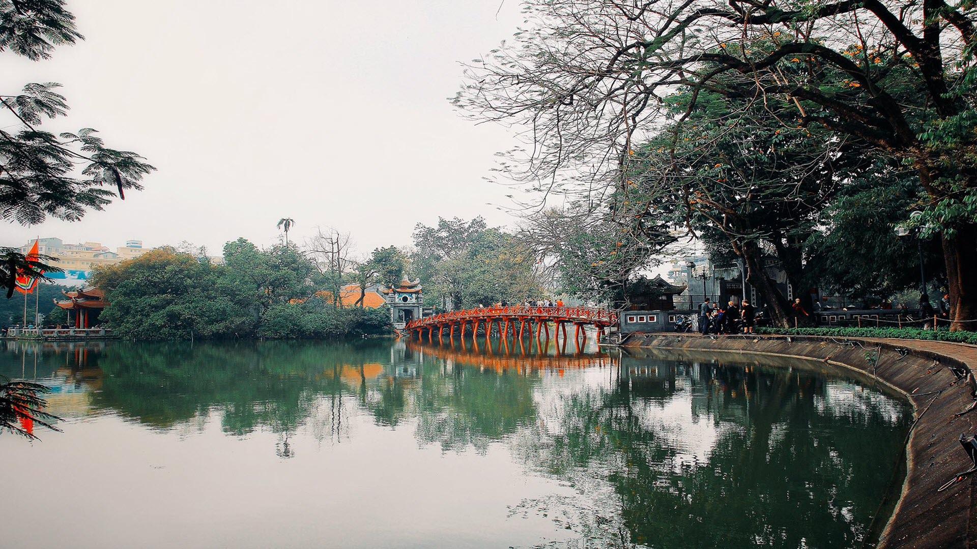 Hình nền cầu Thê Húc ở Hà Nội