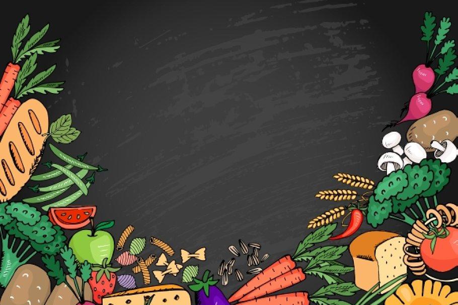 Background menu thực phẩm sạch