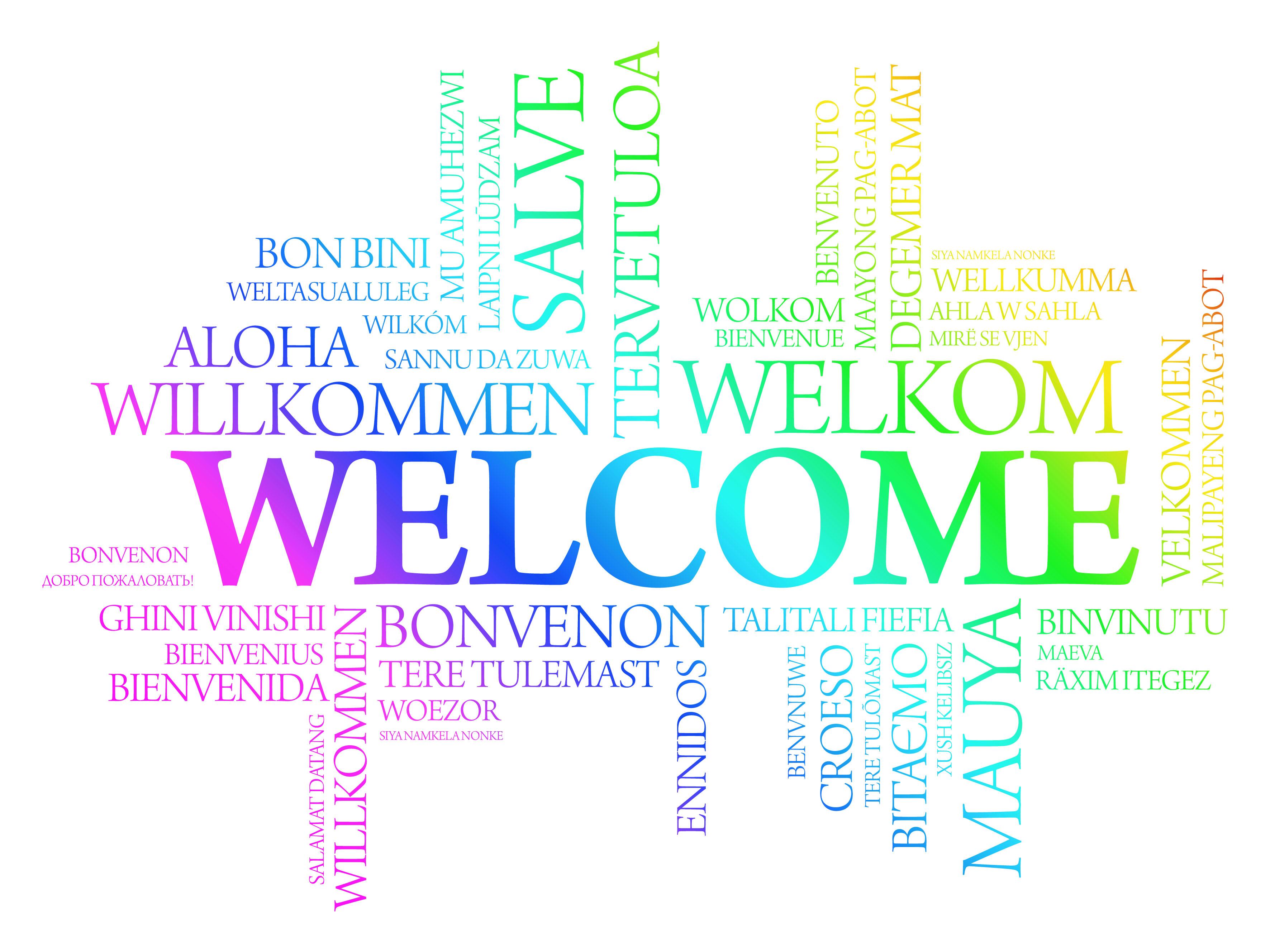 Hình ảnh welcome bằng nhiều ngôn ngữ