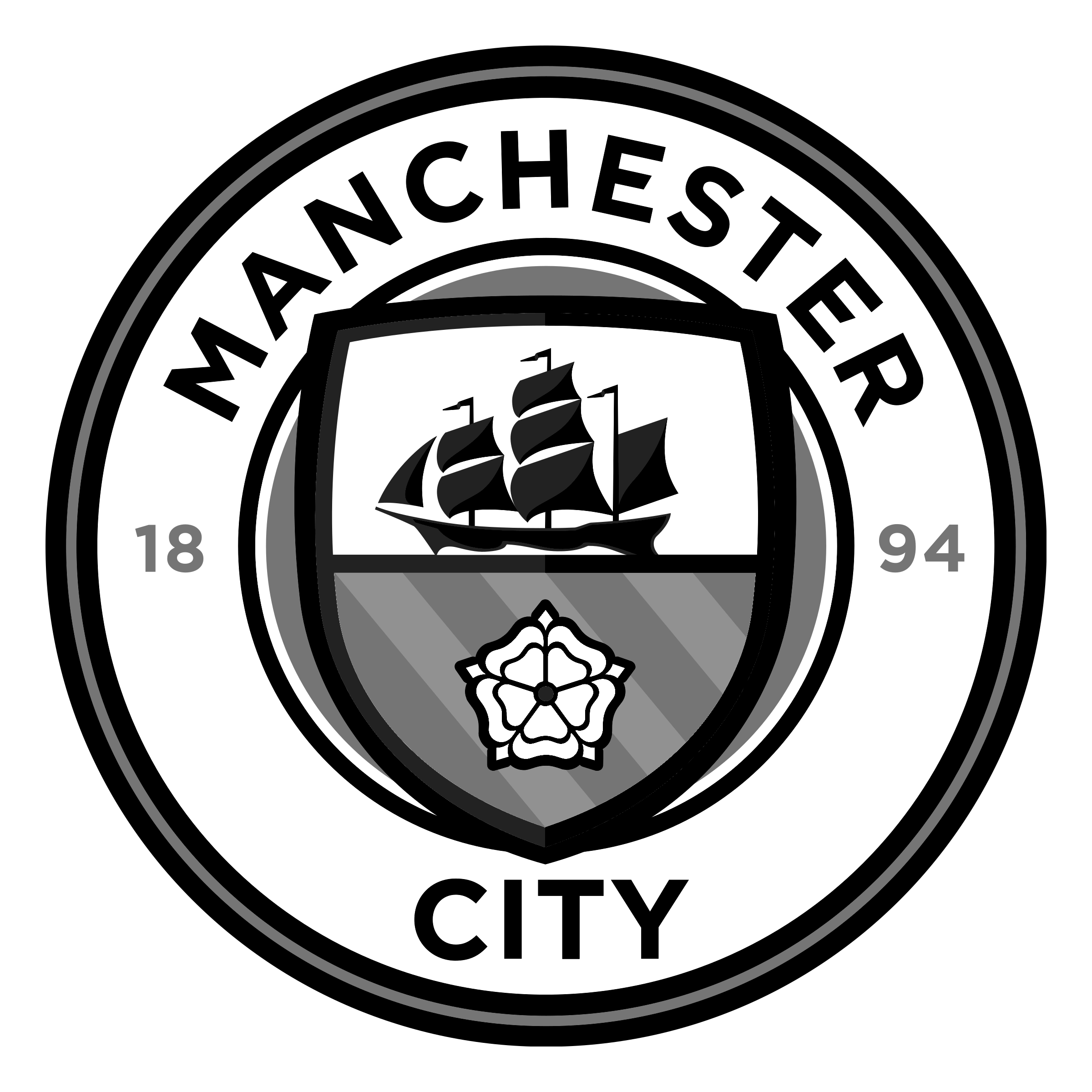 Logo Man City đen trắng