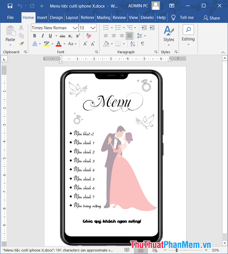 Mẫu thực đơn tiệc cưới hình iPhone