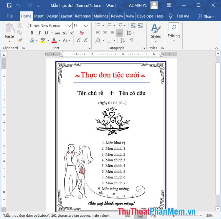 Thực đơn cưới file word