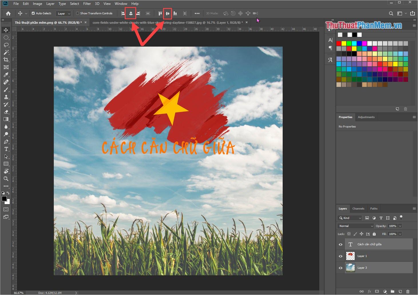 Chọn Align horizontal center (căn dọc chính giữa) và Align vertical center (căn ngang chính giữa) để đưa nội dung chữ ra chính giữa hình ảnh