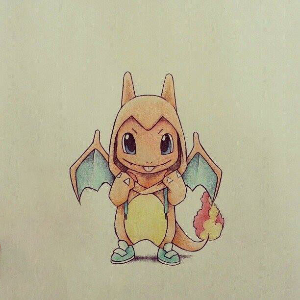 Hình vẽ pokemon rồng lửa