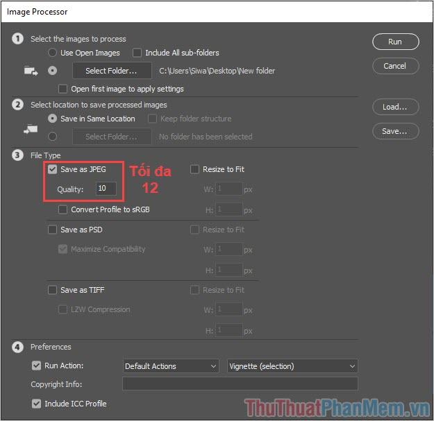 Chọn Save as JPEG và chất lượng (Quality)