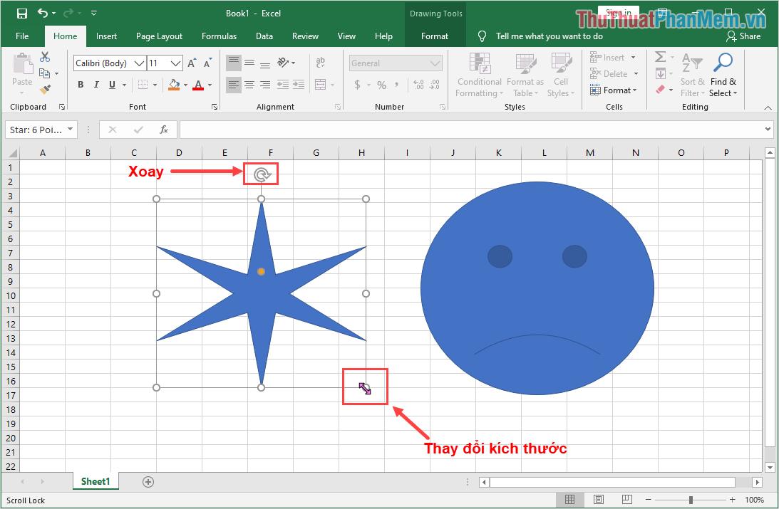 Khi các bạn nhấn vào hình vẽ thì sẽ có các điểm tròn xuất hiện tại các góc, các bạn có thể kéo chúng để thay đổi kích thước