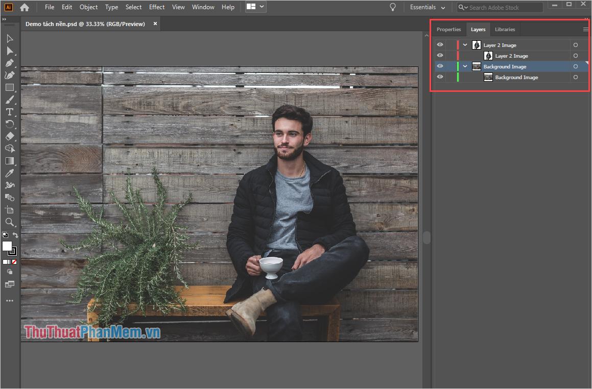 Bạn đã mở được file PSD trên phần mềm Adobe Illustrator với đầy đủ các Layer, thuộc tính của file PSD