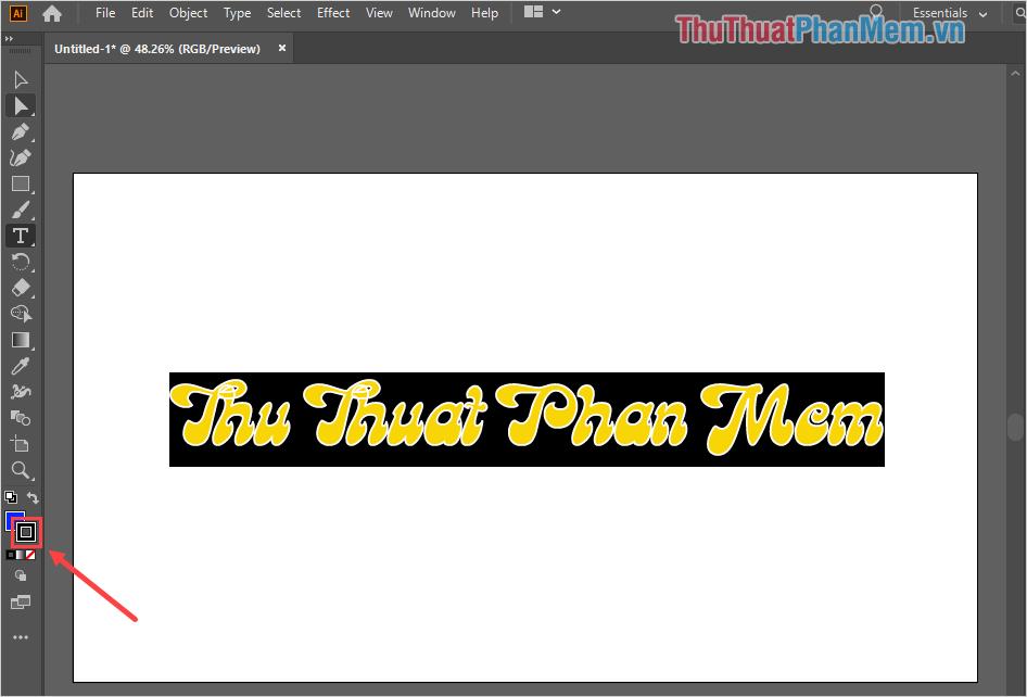 Bôi đen toàn bộ nội dung chữ có viền và nhấn vào bảng màu phía dưới (Stroke)