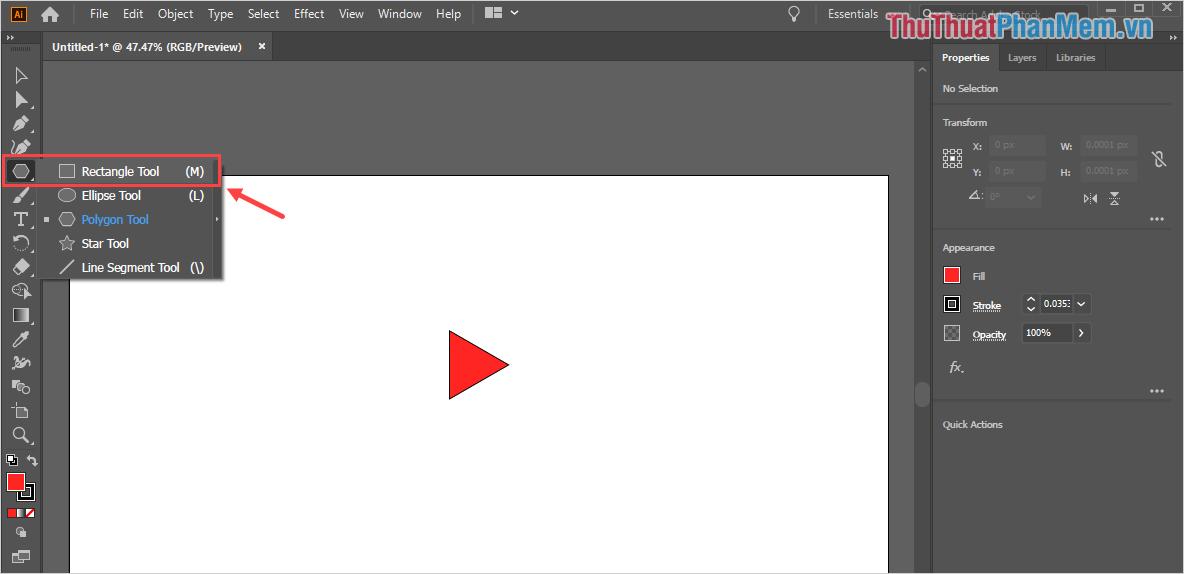 Chọn công cụ Rectangle Tool trong bộ công cụ Sharp Tool để vẽ hình chữ nhật