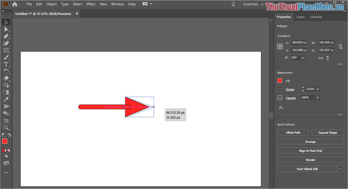 Chọn công cụ Selection Tool (V) và tiến hành chỉnh sửa kích thước, bo góc của mũi tên sao cho hài hoà và hợp lý