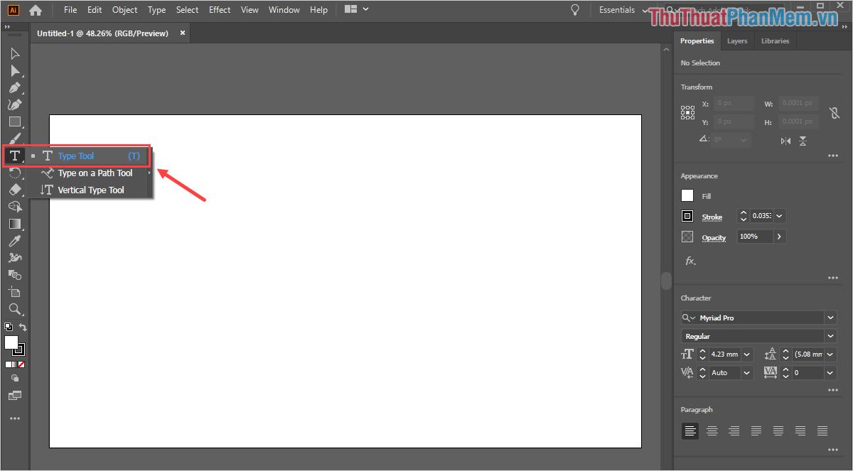 Chọn công cụ Type Tool để tiến hành nhập dữ liệu chữ cần viết vào trong phần mềm Illustrator
