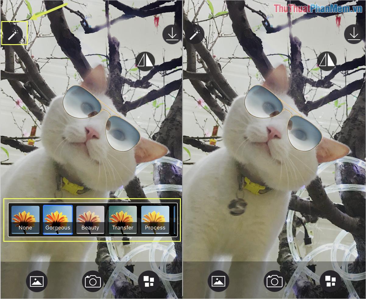 Chọn Filter và tiến hành chọn bộ lọc màu mình muốn sử dụng