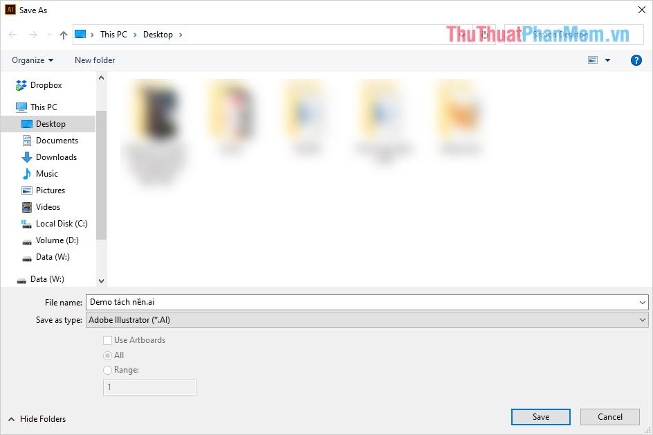 Đặt tên cho file và chọn thư mục lưu trữ