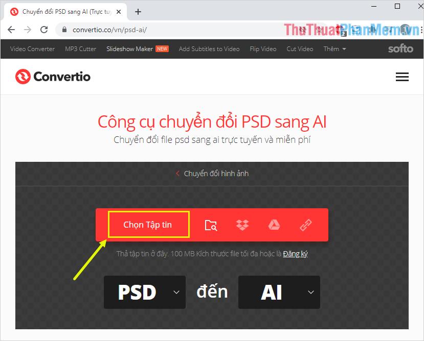 Nhấn vào mục Chọn Tệp tin để chọn file PSD từ máy tính