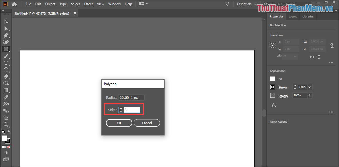 Nhấn vào trang làm việc và cửa sổ Polygon sẽ xuất hiện, bạn thiết lập Slide là 3 và nhấn OK