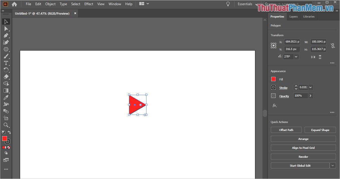 Như vậy là các bạn đã vẽ được một hình tam giác, đây là phần đầu của mũi tên