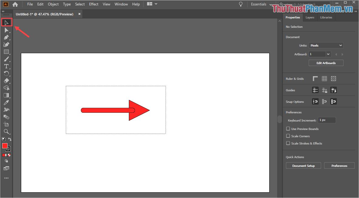 Sử dụng công cụ Selection Tool (V) để tạo vùng chọn bao quanh mũi tên (bao gồm cả đầu và đuôi mũi tên)