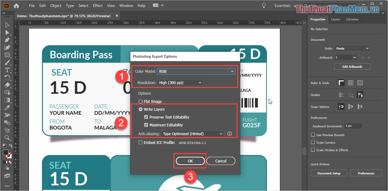 Thiết lập Photoshop Export Options