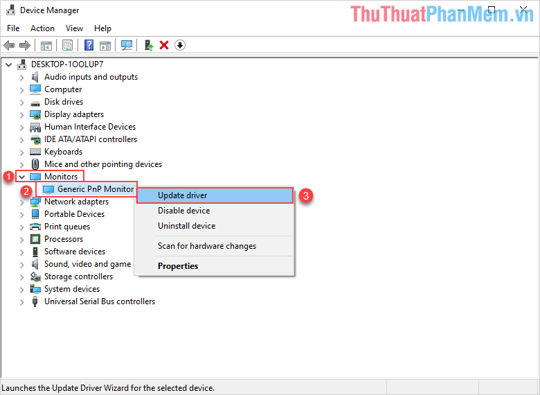Click chuột phải vào Generic PnP Monitor chọn Update driver