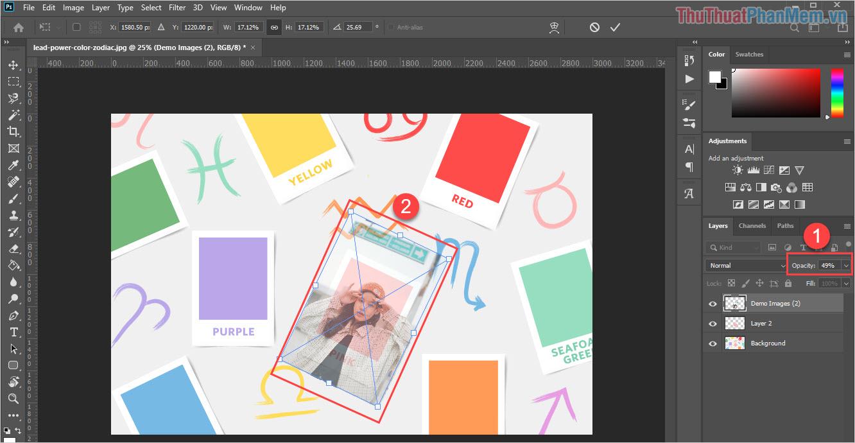 Điều chỉnh Opacity (độ mờ) và thuphóng hình xoay sao cho hình ảnh phù hợp với Layer các bạn cần chèn