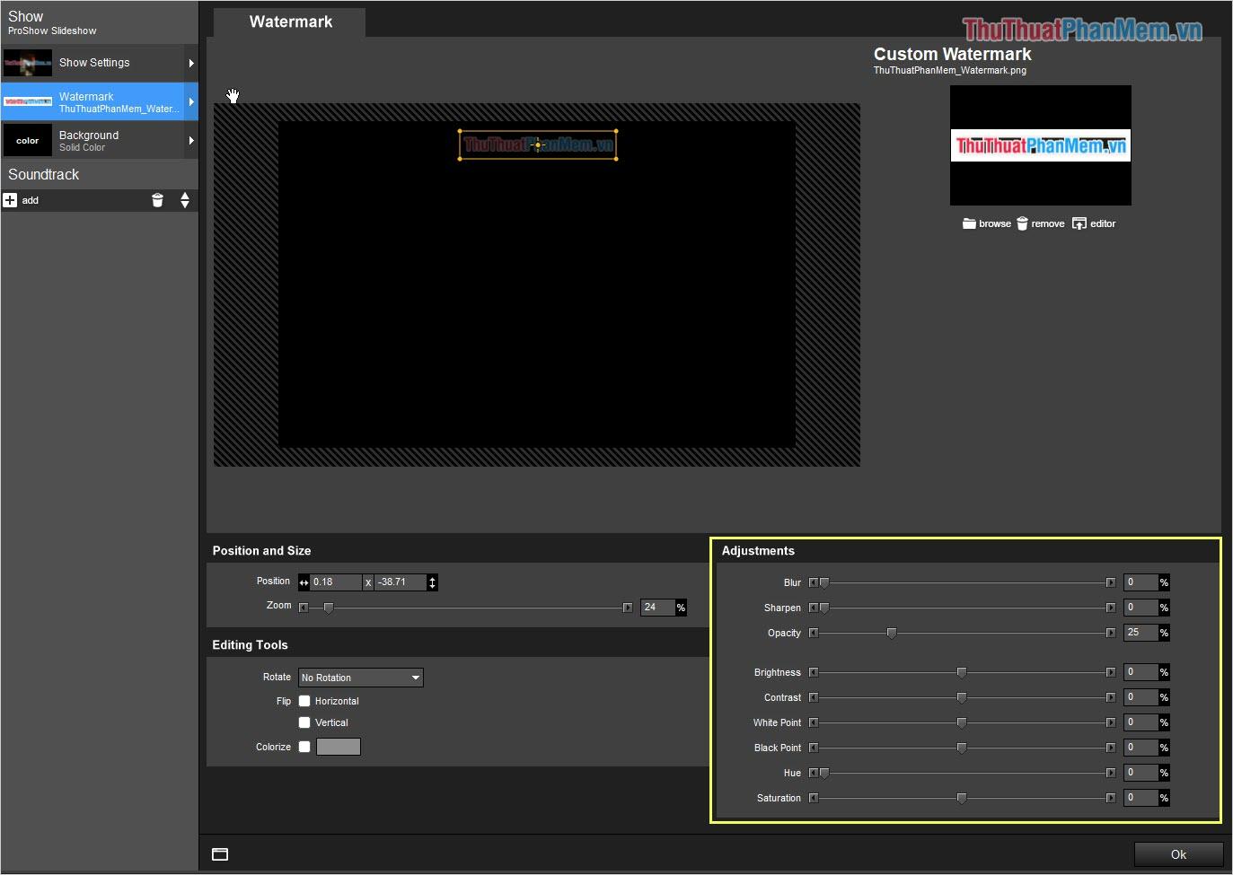 Bạn có thể điều chỉnh thông số liên quan đến màu sắc trong mục Adjustments
