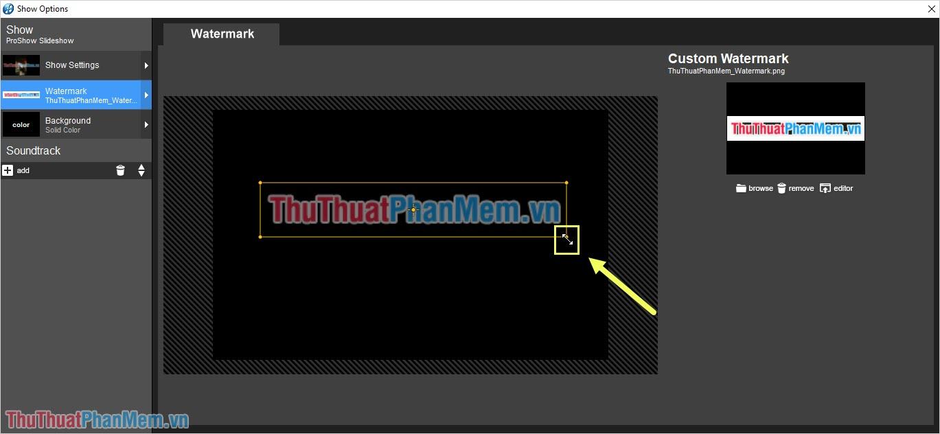 Bạn có thể nhấn vào các góc để phóng to thu nhỏ Logo sao cho phù hợp với Video