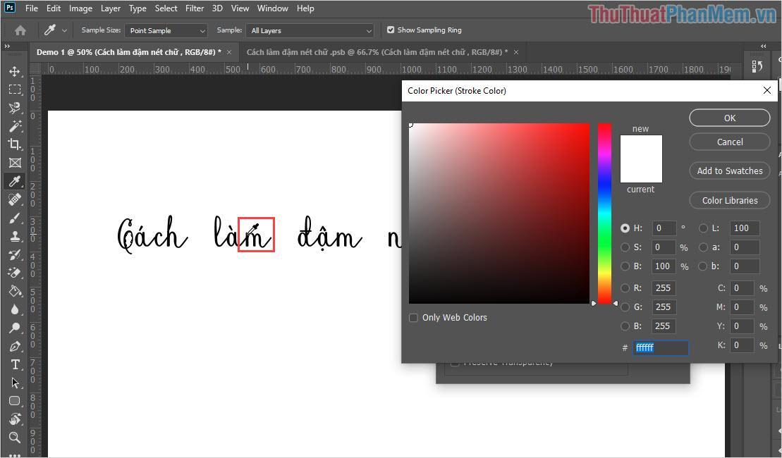 Các bạn dùng bút màu để chọn màu sắc của chữ, như vậy thì khi làm chữ đậm sẽ đẹp hơn