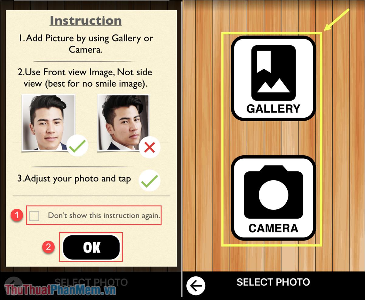 Chọn ảnh từ Gallery hoặc từ Camera