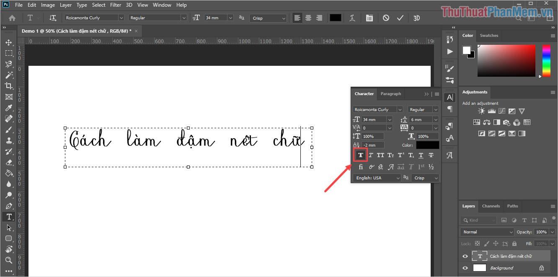 Chọn biểu tượng Bold để bôi đen toàn bộ chữ