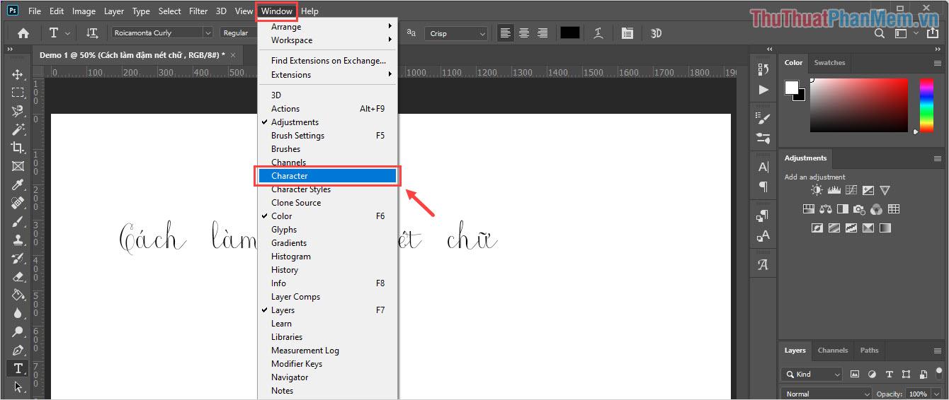 Chọn Character để mở bộ định dạng trên Photoshop