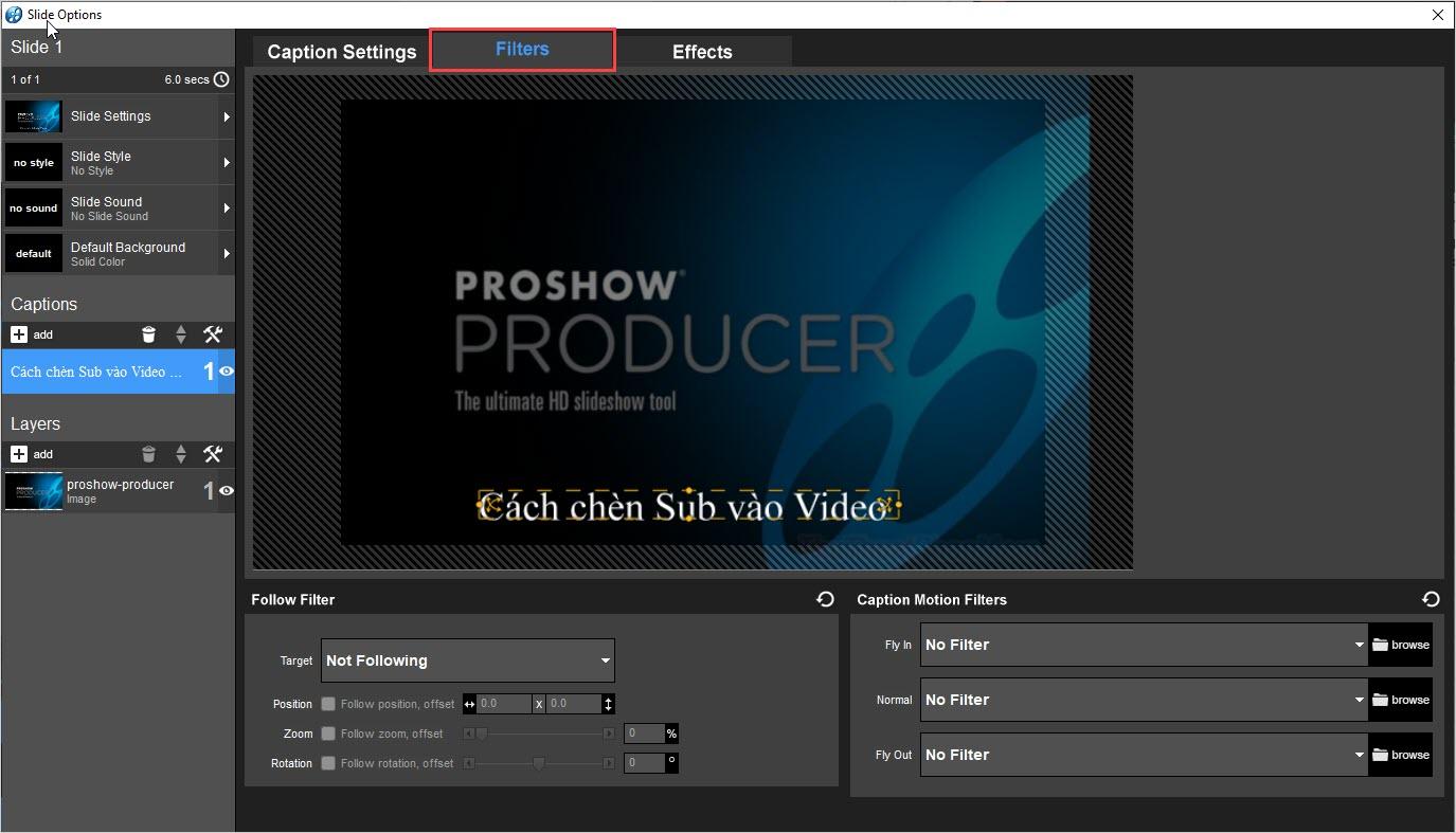 Chọn Filters để thêm hiệu ứng vào cho nội dung Sub