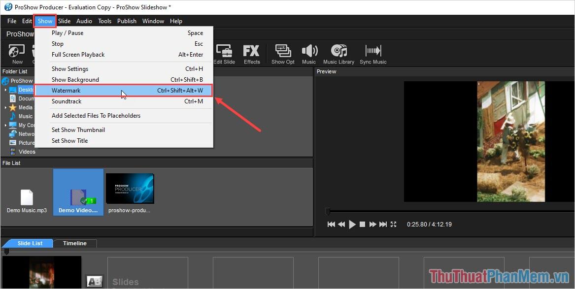 Chọn Watermark (Ctrl + Shift + Alt + W) để tiến hành thêm file Logo vào trong Video