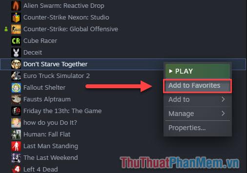 Click chuột phải vào game mà bạn yêu thích và chọn Add to Favorites