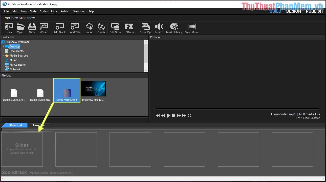 Kéo file hình ảnh video xuống Slide List để làm việc