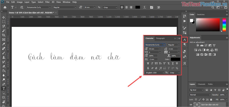 Photoshop sẽ bật bảng Character và các bạn sẽ có được một loạt các tính năng định dạng khác nhau