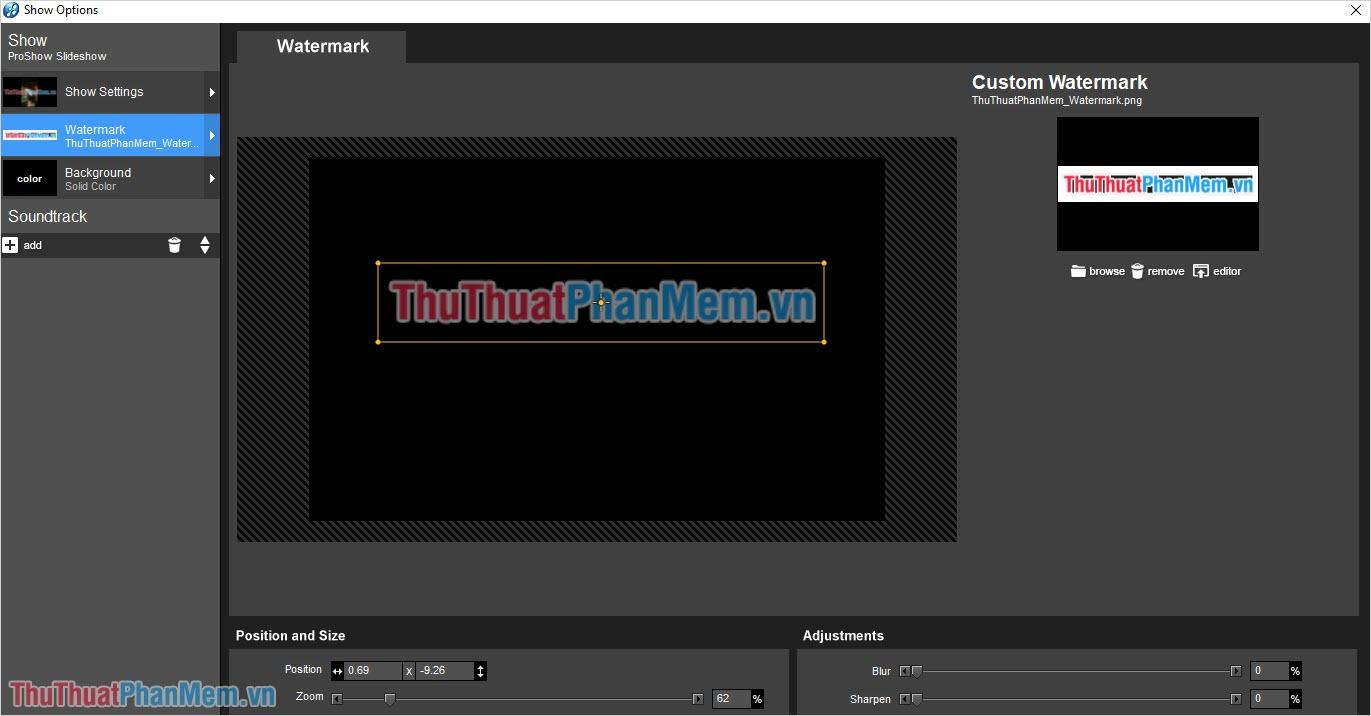 Sau khi chọn file Logo xong, hệ thống sẽ tự động xử lý và thêm vào Video cho các bạn