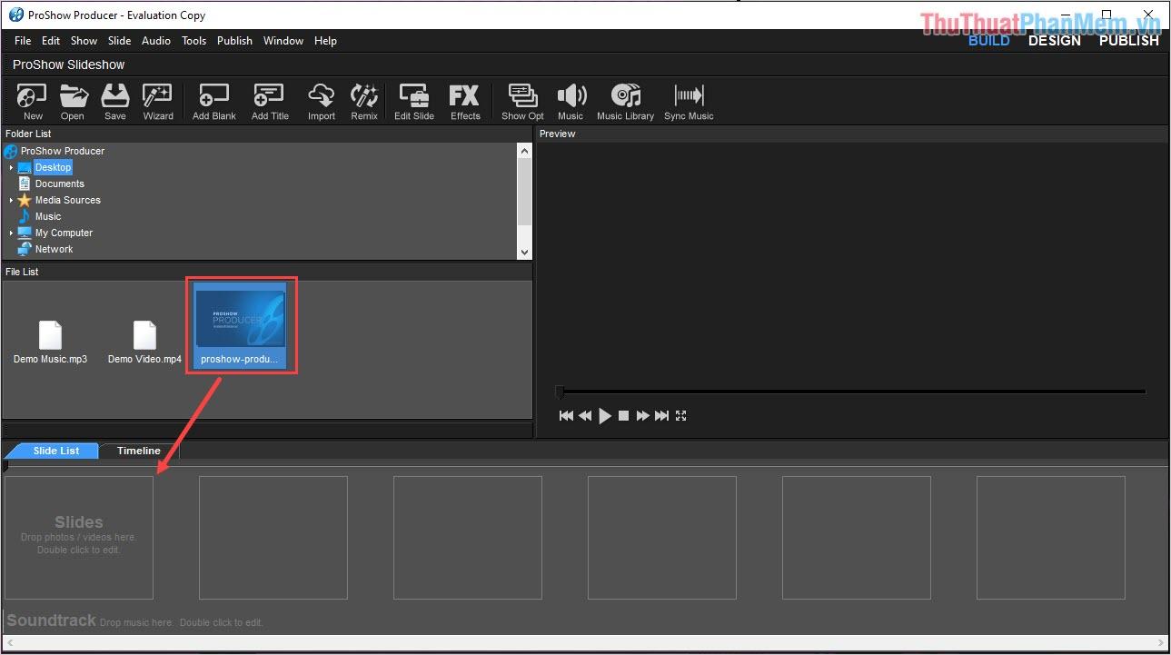 Thêm hình ảnh Video muốn chèn Sub xuống Slide List để làm việc