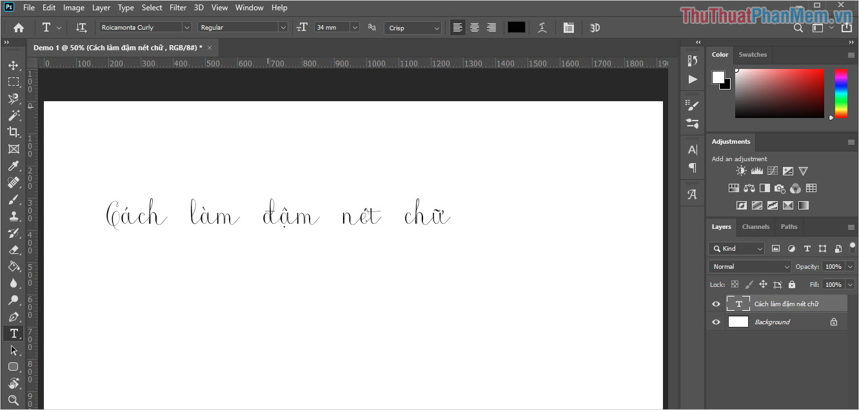 Viết nội dung chữ bằng công cụ Text (T)