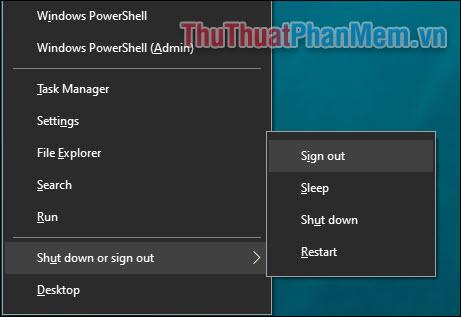 Một số phím tắt thực hiện tắt, ngủ hoặc khởi động lại máy tính