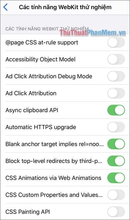 Bạn sẽ nhận được một danh sách các tính năng thử nghiệm đang được sử dụng cho Safari