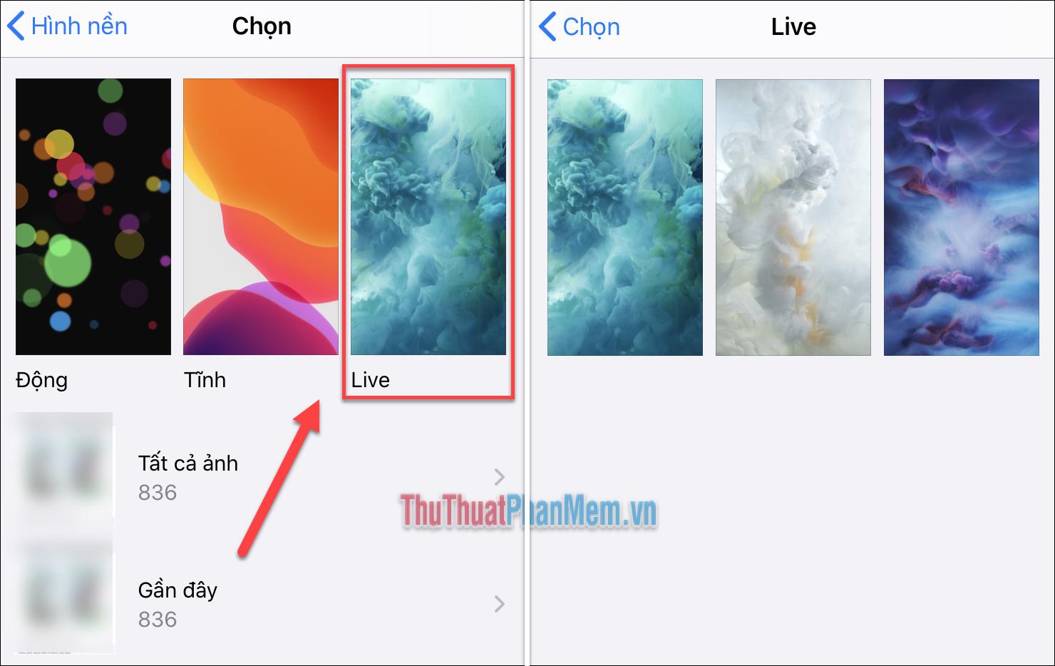Nhấn Live và chọn một trong các hình nền được cung cấp