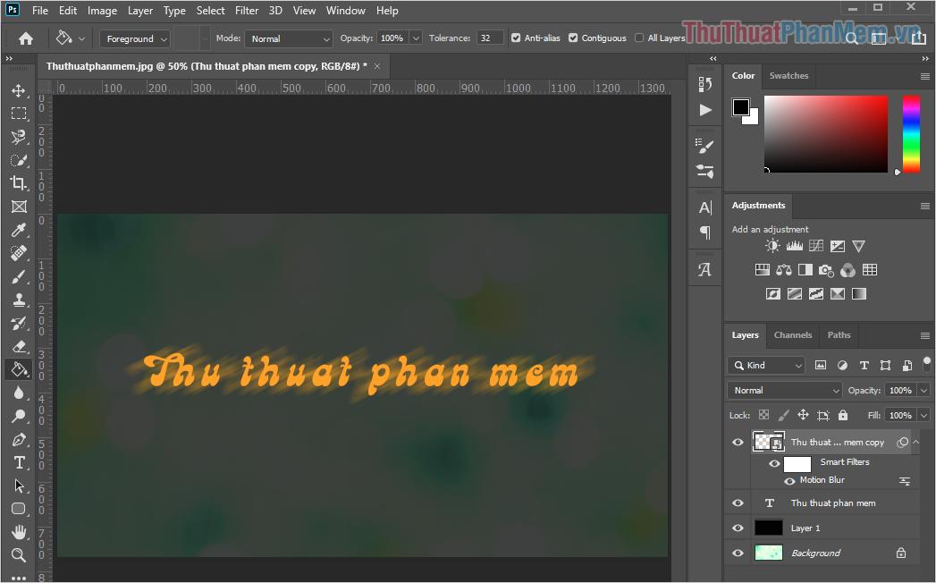 Phần mờ nhoè của chữ luôn có Opacity nhạt nên các bạn hãy tinh chỉnh lại Background
