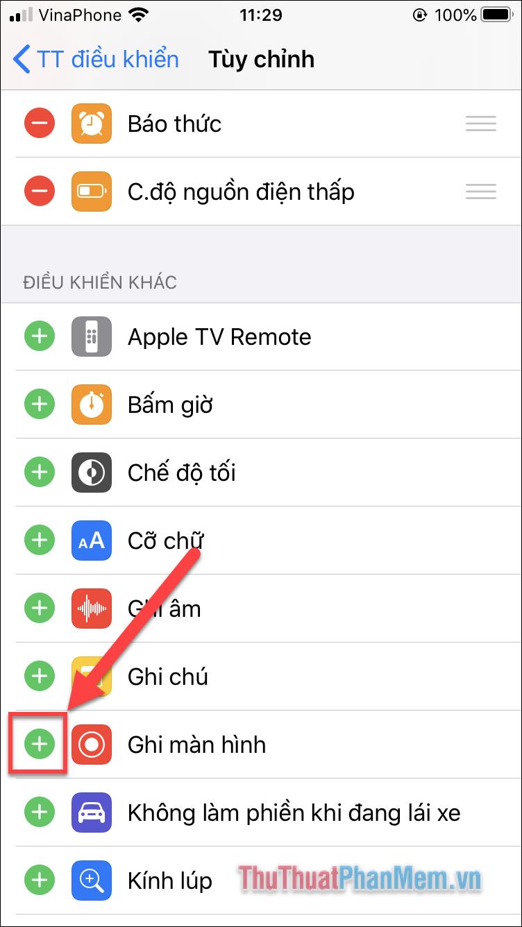 Tìm Ghi màn hình và nhấn vào dấu cộng bên trái để thêm tính năng vào Trung tâm điều khiển