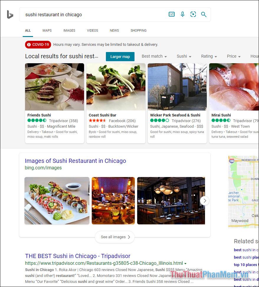 Kết quả của Bing có phần khác biệt khi chỉ xuất hiện những hình ảnh liên quan và bài viết tổng hợp ở những kết quả đầu