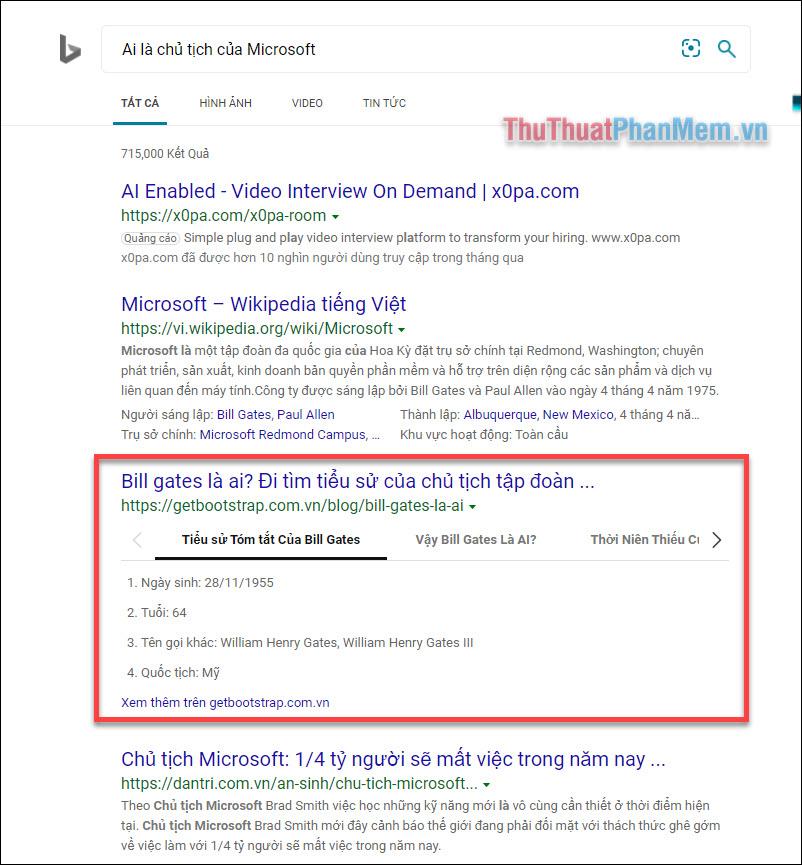 Kết quả tìm kiếm với Bing